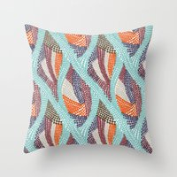 knitting Throw Pillows featuring knitting dots by frameless