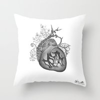 radiohead Throw Pillows featuring RADIOHEAD HEART by Estelle Couraye
