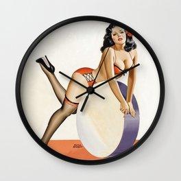 Peter Driben Pin-Up on Drum Wall Clock