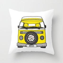 Retro camper caravan Throw Pillow