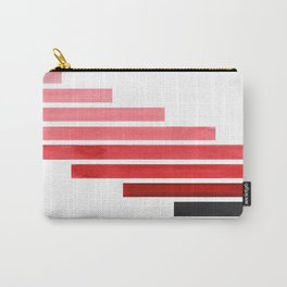 Red Midcentury Modern Minimalist Staggered Stripes Rectangle Geometric Pattern Watercolor Art Simple Carry-All Pouch