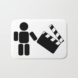 Pictogram holding a movie clapperboard Bath Mat