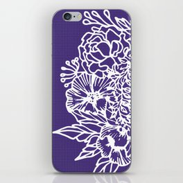 White Flowery Linocut Wreath On Checked UltraViolet iPhone Skin