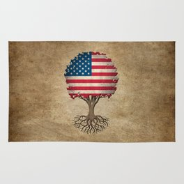Vintage Tree of Life with Flag of The United States Rug