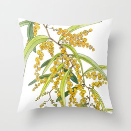 Australian Wattle Flower, Illustration Throw Pillow