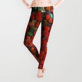 Abstract Orange-Red Leggings