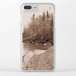 Rock and a hard place Clear iPhone Case