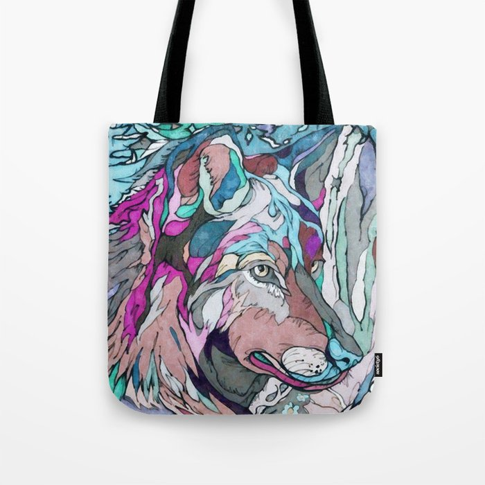 Colorful Wolf Tote Bag