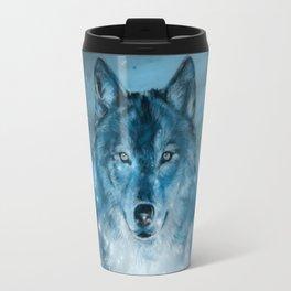 wolf in blue Travel Mug