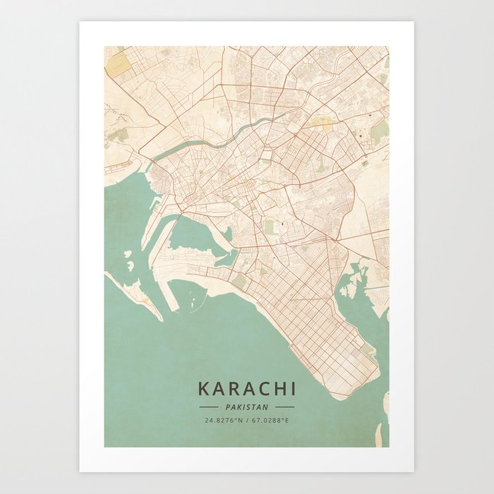 Karachi, stan - Vintage Map Art Print by designermapart on lahore world map, moscow on world map, paris world map, shanghai on world map, mecca world map, istanbul world map, jerusalem world map, kolkata world map, jakarta world map, cairo world map, pyongyang world map, seoul world map, thar desert world map, buenos aires world map, ulaanbaatar world map, hyderabad world map, taipei world map, colombo world map, damascus on world map, kathmandu world map,