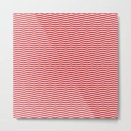 Red and White Christmas Chevron Stripes Metal Print