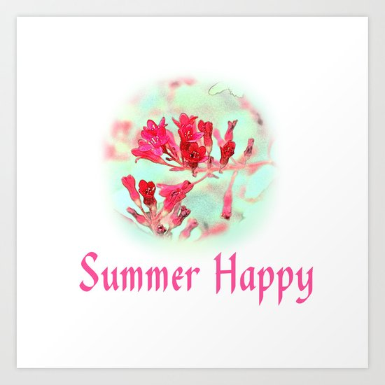 pretty pink summer flowers, summer happy floral photo art. Art Print