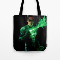 green lantern Tote Bags featuring Green Lantern by Styleman D