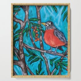 Robin Redbreast in the Mountain Ash Serving Tray
