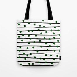 Modern black forest green polka dots stripes Tote Bag