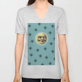 Moon and stars Unisex V-Neck