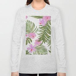 Modern pink green palm tree tropical floral Long Sleeve T-shirt