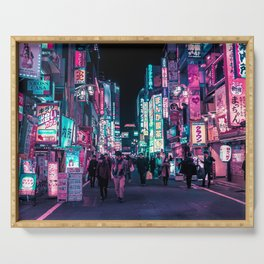 Heart Full Of Neon: Cyberpunk Overload Canvas Print Serving Tray