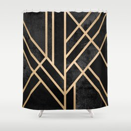 Art Deco Black Shower Curtain