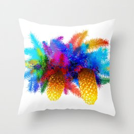 Fir tree branch with cones Throw Pillow