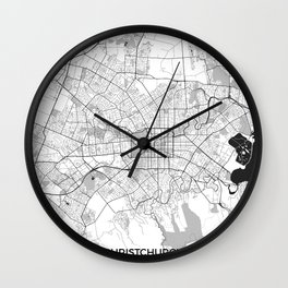 Christchurch Map Gray Wall Clock