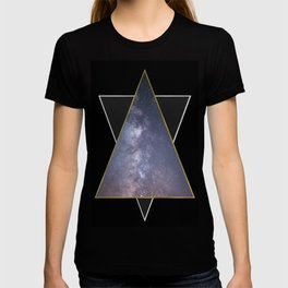 Galaxy Triangles in Gold + Silver T-shirt