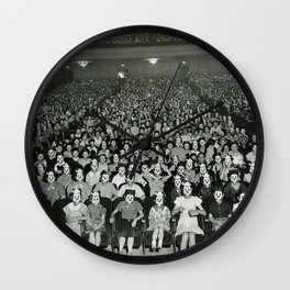 One-thousand Bizzaro Masked Mickeys watching cartoons in theatre black and white photograph Wall Clock
