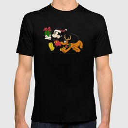 Mickey Mouse and Pluto with christmas gifts T-shirt