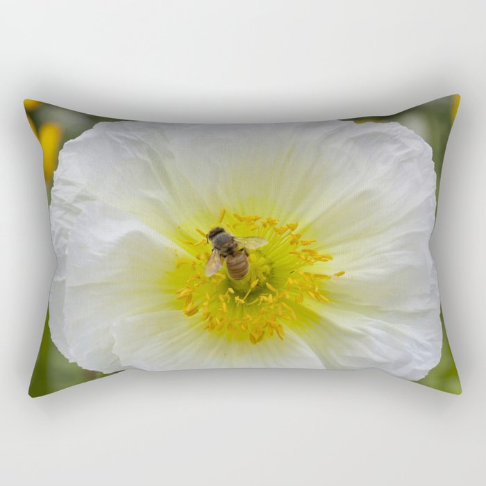 White Poppy with Bee Rectangular Pillow