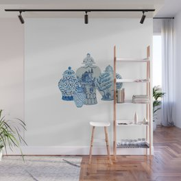 Four 4 Blue and White Ginger Jars  Wall Mural