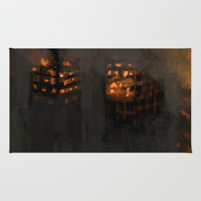 Burning city buildings urban destruction digital illustration Rug