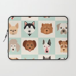 Big set of cute dogs icons, vector flat illustrations. Popular dogs breeds, pattern, card, game grap Laptop Sleeve