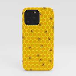 Mind Your Own Beeswax / Bright honeycomb and bee pattern iPhone Case