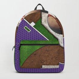 Baseball Field, Base and Ball over Purple Sports Pattern Backpack
