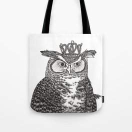 Great Horned Owl Wearing a Glittering Crown Tote Bag