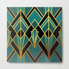 Art Deco Keep On Walking In Turquoise Metal Print