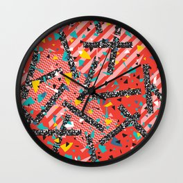 Modern Memphis Milan Inspired Primary Color Geometric Stripe Design Red Confetti 80s Party Wall Clock