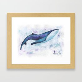 Big space whale illustration Framed Art Print