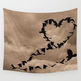 Heart of Crows (Birds) A276 Wall Tapestry