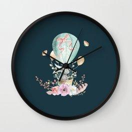 Whimsical Bunny in a Balloon Watercolor Design Wall Clock