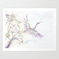 Nature In Technicolor - Crane Art Print