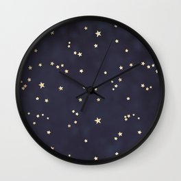 Navy Blue Gold Stars Night Sky Space Galaxy Pattern Wall Clock