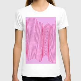 Pink Abstract Sound Waves Contours T-shirt