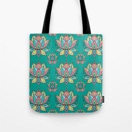 Lotus Mandala Doodle Green Pattern Tote Bag