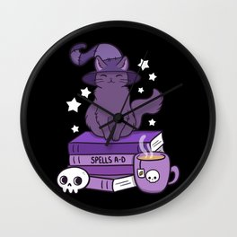 Feline Familiar 02 // Black Wall Clock