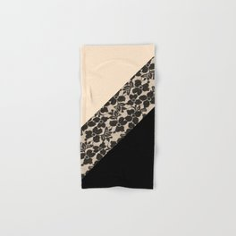 Elegant Peach Ivory Black Floral Lace Color Block Hand & Bath Towel