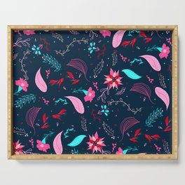 Modern winter bright navy blue pink turquoise teal floral pattern illustration Serving Tray
