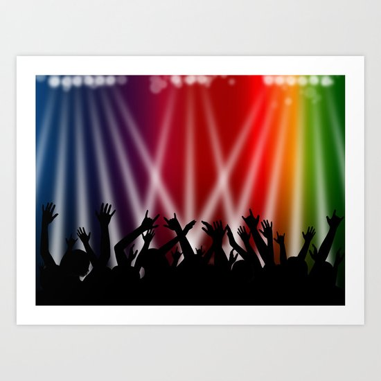 Dancing Crowd With Multi Colour and White Spotlights Art Print