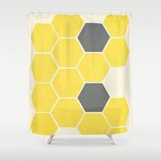 Yellow Honeycomb Shower Curtain