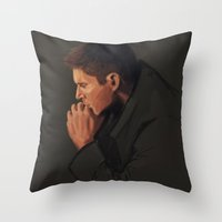 dean winchester Throw Pillows featuring Dean Winchester #3 by charlotvanh